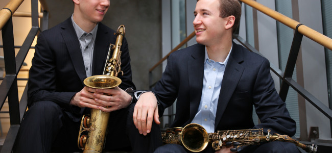 Clarinet and saxophone virtuoso twins Peter and Will Anderson play Hawley Silk Mill on Dec. 13