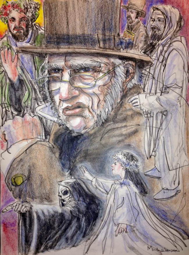 Watch the illustrated posters for a production of 'A Christmas Carol' come together step by step with live actors