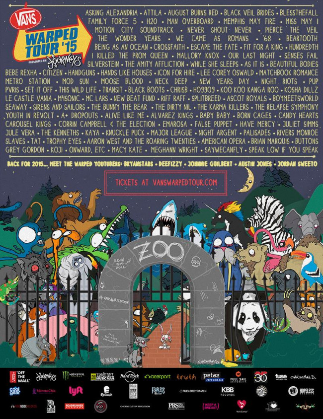 2015 Vans Warped Tour lineup at The Pavilion at Montage Mountain in Scranton announced