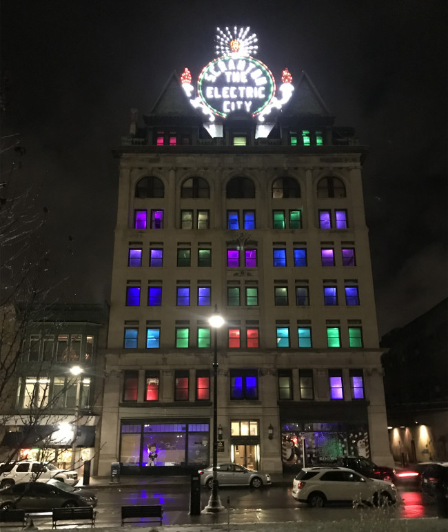 Scranton Electric Building adds colored lights in windows for the holidays, hosts unveiling on Dec. 20