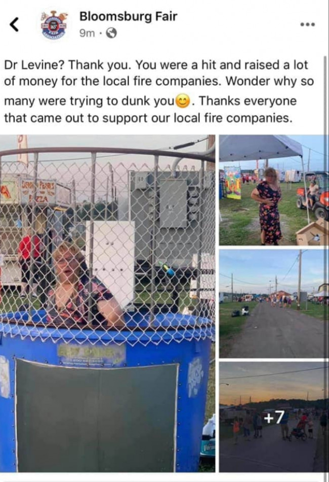 Bloomsburg Fair criticized for 'transphobic' dunk tank mocking Dr. Rachel Levine, PA Secretary of Health