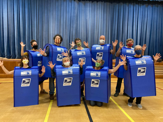 Dancing mailboxes deliver voting info in Honesdale, Hawley, and Scranton on Oct. 24 through Election Day