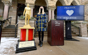 PHOTOS: Giant Dundie Award presented to Scranton by Peacock and 'The Office' stars