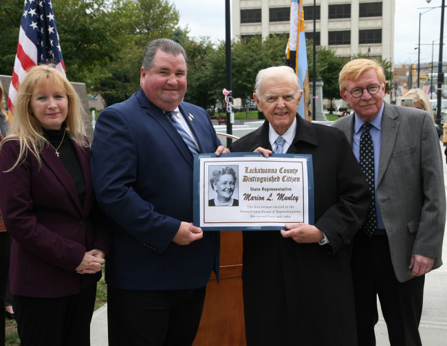 Scranton monument to lawmaker and women's rights pioneer Marion L. Munley will be unveiled on Oct. 15