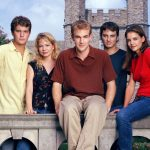 DAWSON'S CREEK  Pictured (left to right):  Joshua Jackson as Pacey Witter,  Michelle Williams as Jennifer Lindley,  James Van Der Beek as Dawson Leery,  Kerr Smith as Jack McPhee, Katie Holmes as Joey Potter  Photo Credit: © The WB / Andrew Eccles