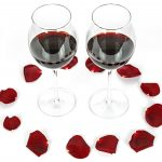 wine glasses rose petals